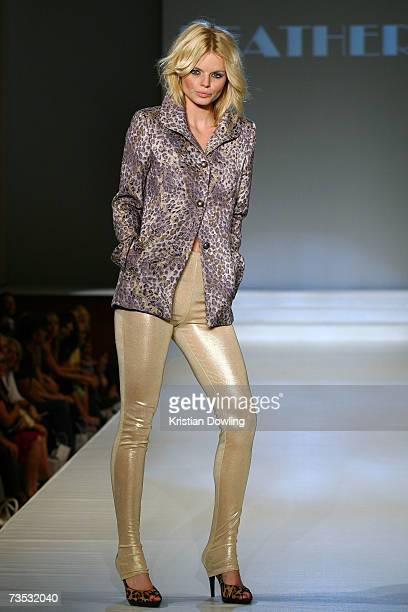 Model showcases a design by Feathers at Salon Show 4 on the fifth day of the L'Oreal Melbourne Fashion Festival 2007 at the Prahran Town Hall on...