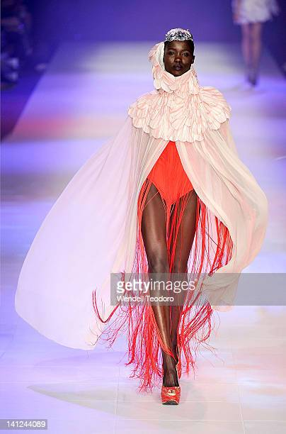 Model showcases a design by Ju Young Seo during the National Graduate showcase on day six of the 2012 L'Oreal Melbourne Fashion Festival on March 13,...