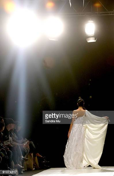 A model showcases a design by Kiri Nathan as part of the Miromoda Awards Showcase on day three of Air New Zealand Fashion Week 2009 at the Westpac...