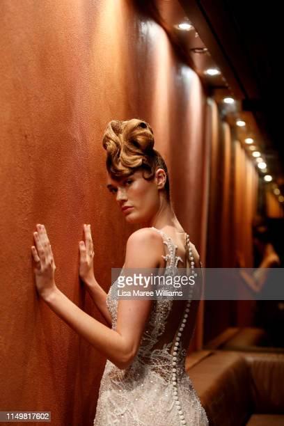 Model showcases a design by Leah Da Gloria the Fashion Palette 10th Anniversary Event on May 17, 2019 in Sydney, Australia.