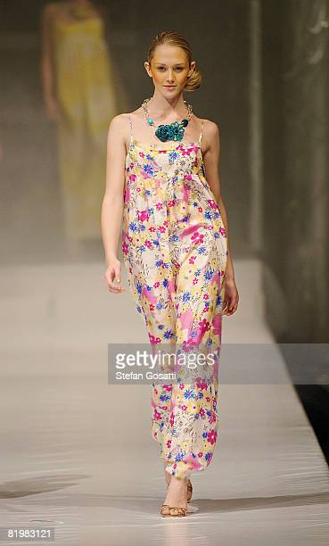 Model showcases a design by Lola Australia on the catwalk during the StyleAid Perth Fashion Event 2008 at the Burswood Entertainment Complex on July...