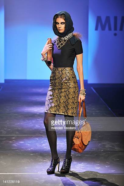Model showcases a design by Mimco on day six of the 2012 L'Oreal Melbourne Fashion Festival on March 13, 2012 in Melbourne, Australia.