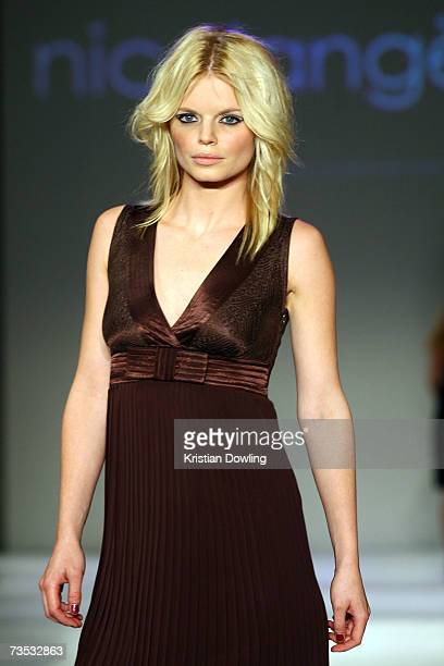 Model showcases a design by Nicolangela at Salon Show 4 on the fifth day of the L'Oreal Melbourne Fashion Festival 2007 at the Prahran Town Hall on...