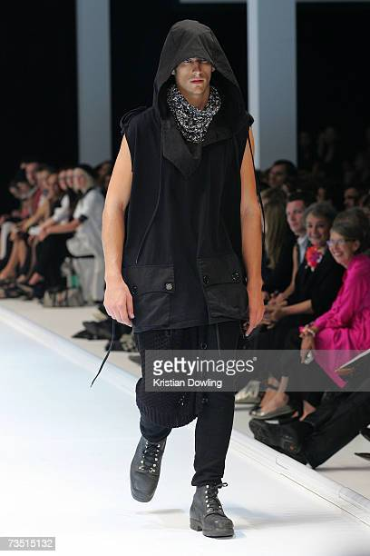 Model showcases a design by Nom*D at L'Oreal Paris Runway 5 as part of L'Oreal Melbourne Fashion Festival 2007 at the Fashion Cube, Melbourne Museum...