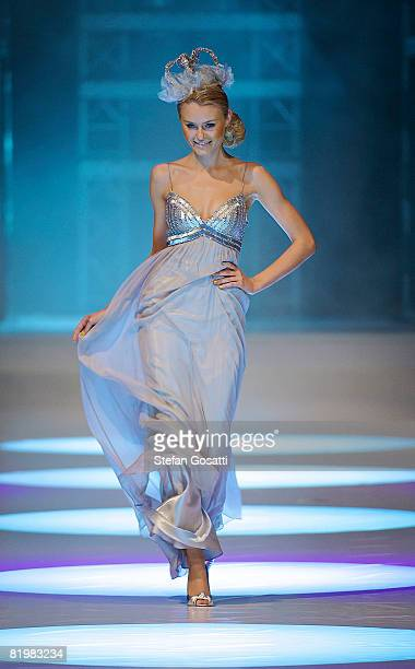 Model showcases a design by Ruth Tarydas on the catwalk during the StyleAid Perth Fashion Event 2008 at the Burswood Entertainment Complex on July...