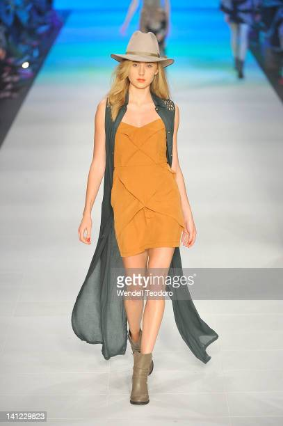 Model showcases a design by Shona Joy during the L'Oreal Paris runway 5 on day six of the 2012 L'Oreal Melbourne Fashion Festival on March 13, 2012...