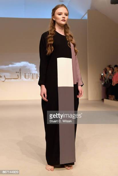 A model showcases a design by Utruj during Fashion Forward October 2017 held at the Dubai Design District on October 27 2017 in Dubai United Arab...