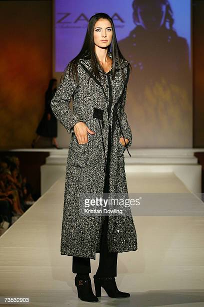 Model showcases a design by Zapa Paris at Salon Show 4 on the fifth day of the L'Oreal Melbourne Fashion Festival 2007 at the Prahran Town Hall on...