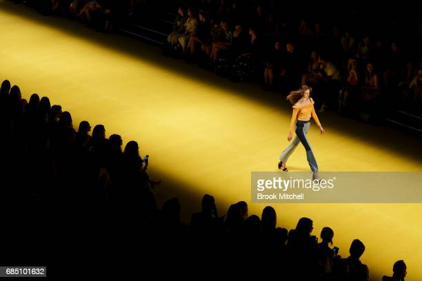 A model showcases a design during the Alice McCall show at MercedesBenz Fashion Week Weekend Edition at Carriageworks on May 19 2017 in Sydney...