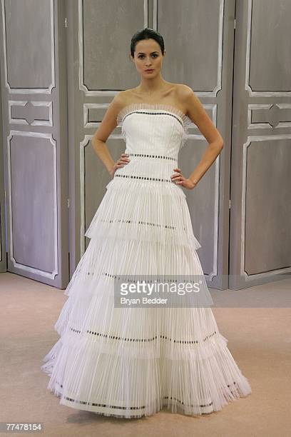 Model showcases a design from the Carolina Herrera Bridal Collection at the Carolina Herrera show room on October 24, 2007 in New York City.