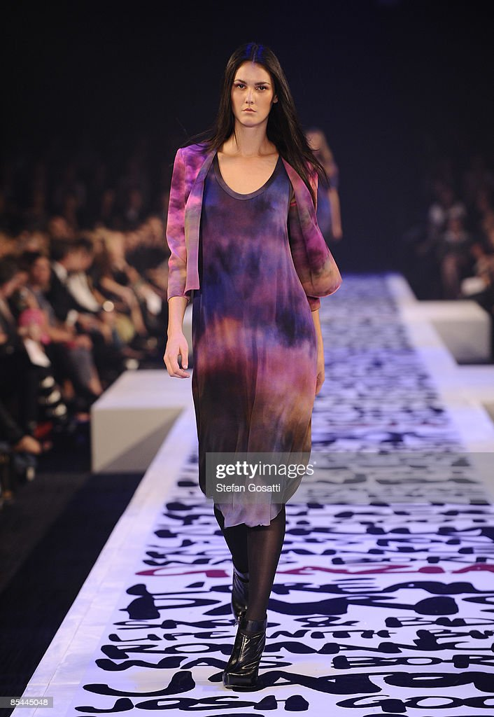 A model showcases a design on the catwalk by Josh Goot during the L'Oreal Melbourne Fashion Festival 2009 at the Malvern Town Hall/Peninsula Docklands on March 16, 2009 in Melbourne, Australia.