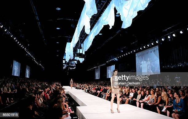 A model showcases a design on the catwalk by Viktor Rolf @ MYER during the L'Oreal Paris Runway 7 presented by Harper's BAZAAR during L'Oreal...