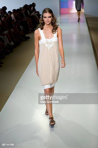 A model showcases a design on the catwalk by Watersun during day three of Swim Fashion Week in Sanctuary Cove on February 27 2009 on the Gold Coast...