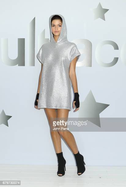 A model showcases a look at Ultracor Fashion Presentation May 2017 The Retreat Athleisure Experience Presented By FUNKSHION at Soho Beach House on...