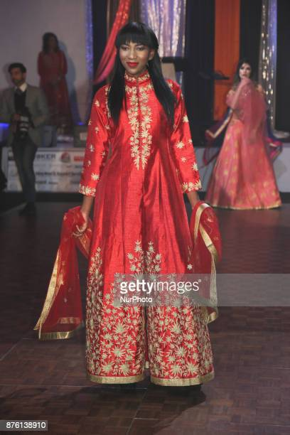 Model showcases an elegant designer outfit from Northern India during an event in Mississauga, Ontario, Canada.