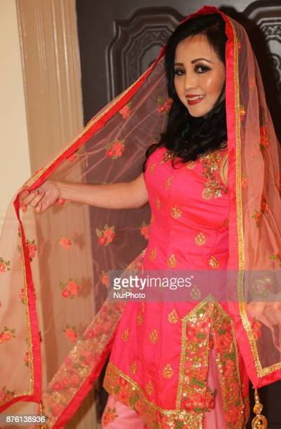 Model showcases an elegant designer outfit from Northern India during an event in Mississauga Ontario Canada