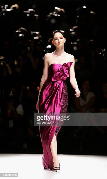 A model showcases an outfit on the catwalk by designer Jayson Brunsdon on day two of Rosemount Australian Fashion Week Spring/Summer 2007/08 at the...