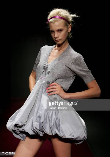Model showcases an outfit on the catwalk by designer Nevenka on day one of Rosemount Australian Fashion Week Spring/Summer 2007/08 off-site at the...