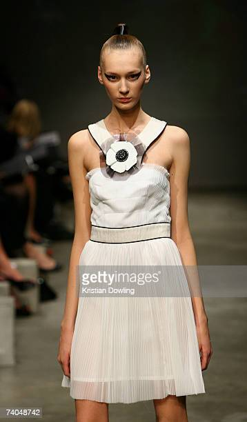 Model showcases an outfit on the catwalk by designer Nicola Finetti on day three of Rosemount Australian Fashion Week Spring/Summer 2007/08 at the...