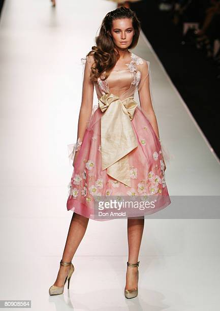 Model showcases an outift by designer Alex Perry on the catwalk on the second day of the Rosemount Australian Fashion Week Spring/Summer 2008/09...