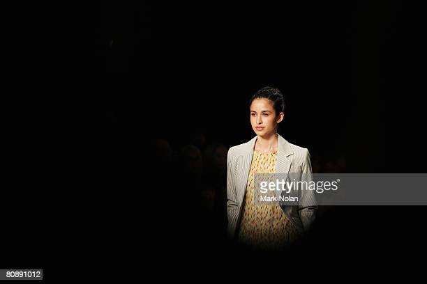 A model showcases an outift by designer Anna Thomas on the first day of the Rosemount Australian Fashion Week Spring/Summer 2008/09 Collections at...