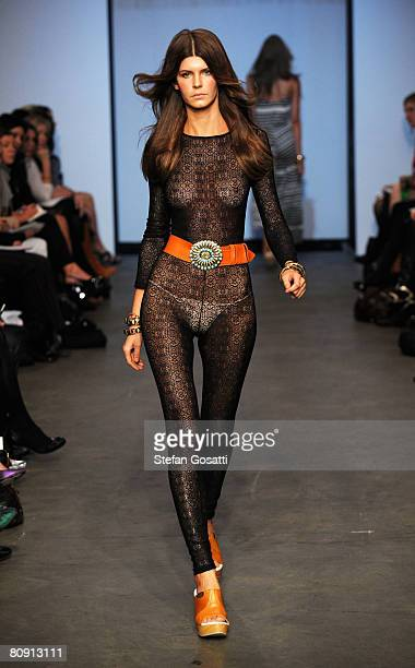 A model showcases an outift by designer Bec Bridge on the catwalk during the second day of the Rosemount Australian Fashion Week Spring/Summer...
