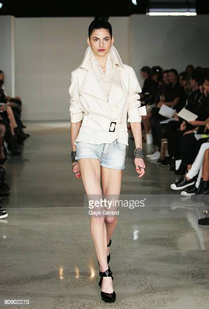 A model showcases an outift by designer Camilla Marc on the catwalk on the second day of the Rosemount Australian Fashion Week Spring/Summer 2008/09...