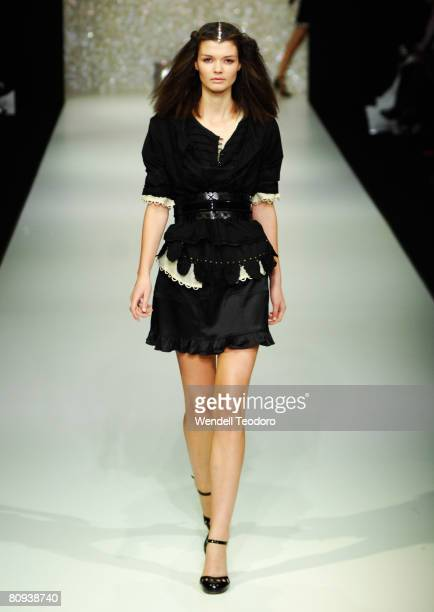 Model showcases an outift by designer Cohen et Sabine on the catwalk on the fourth day of the Rosemount Australian Fashion Week Spring/Summer 2008/09...