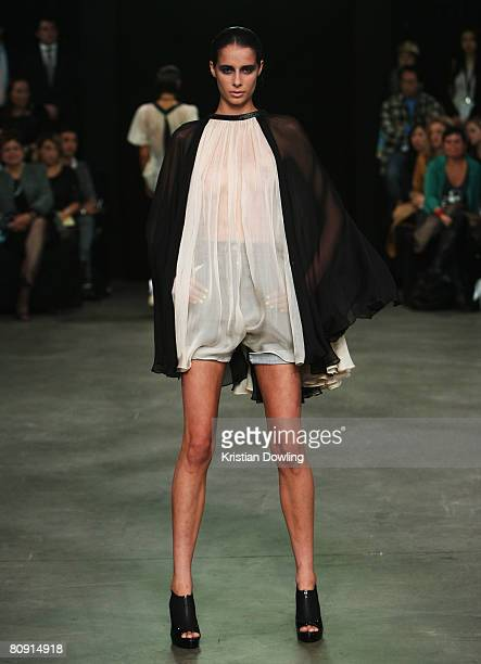 A model showcases an outift by designer Daniel Avakian on the catwalk during the second day of the Rosemount Australian Fashion Week Spring/Summer...