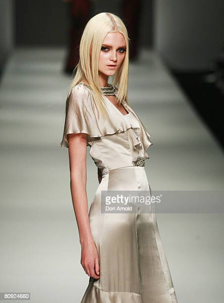 Model showcases an outift by designer Dorian Ho on the catwalk on the third day of the Rosemount Australian Fashion Week Spring/Summer 2008/09...