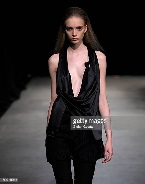 A model showcases an outift by designer Friedrich Gray on the catwalk during the second day of the Rosemount Australian Fashion Week Spring/Summer...