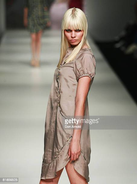 Model showcases an outift by designer Gina Kim on the catwalk on the third day of the Rosemount Australian Fashion Week Spring/Summer 2008/09...