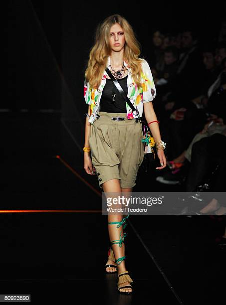 Model showcases an outift by designer Ginger & Smart on the catwalk on the third day of the Rosemount Australian Fashion Week Spring/Summer 2008/09...