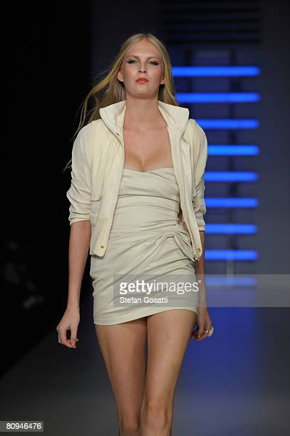 Model showcases an outift by designer Illionaire on the catwalk during the fourth day of the Rosemount Australian Fashion Week Spring/Summer 2008/09...