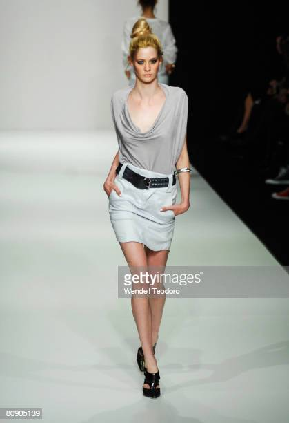 A model showcases an outift by designer LifeWithBird on the catwalk on the second day of the Rosemount Australian Fashion Week Spring/Summer 2008/09...