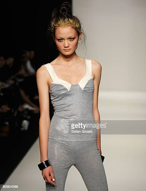 A model showcases an outift by designer LifeWithBird on the catwalk during the second day of the Rosemount Australian Fashion Week Spring/Summer...