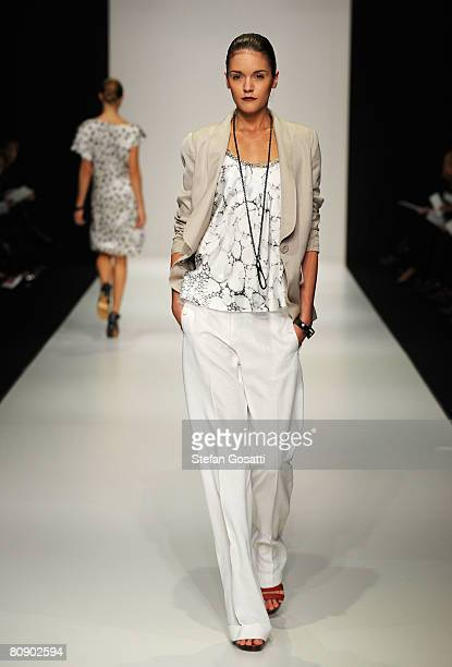Model showcases an outift by designer Lisa Ho on the catwalk during the second day of the Rosemount Australian Fashion Week Spring/Summer 2008/09...