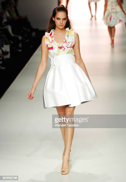 Model showcases an outift by designer Michael Lo Sordo on the catwalk on the fifth day of the Rosemount Australian Fashion Week Spring/Summer 2008/09...