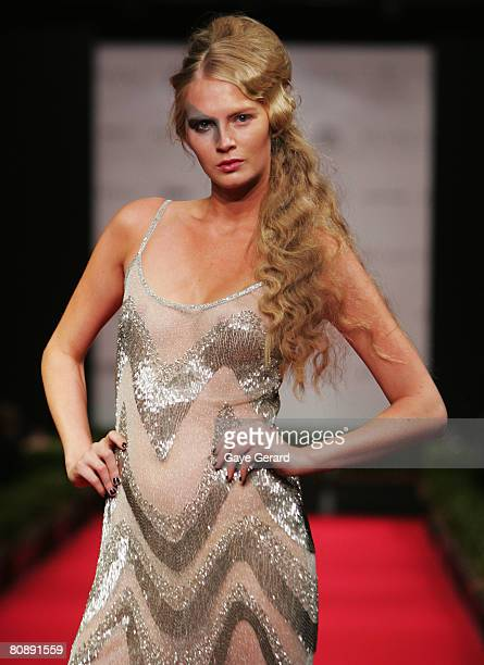 Model showcases an outift by designer Ruth Tarvydas on the first day of the Rosemount Australian Fashion Week Spring/Summer 2008/09 Collections at...