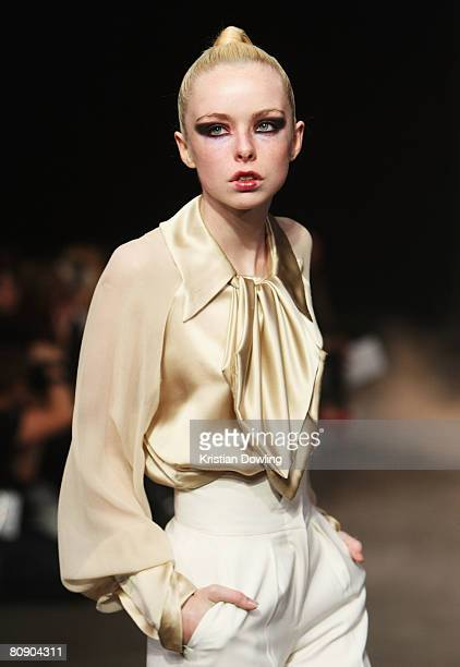 A model showcases an outift by designer Silence Is Golden on the catwalk during the second day of the Rosemount Australian Fashion Week Spring/Summer...