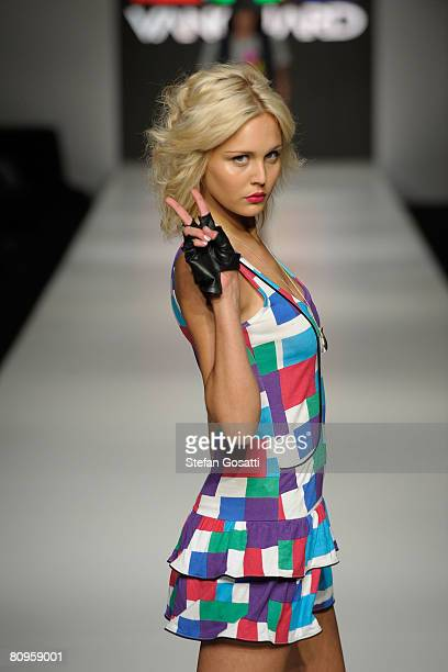 Model showcases an outift by designer Vanguard as part of the New Generation catwalk show during the fifth day of the Rosemount Australian Fashion...