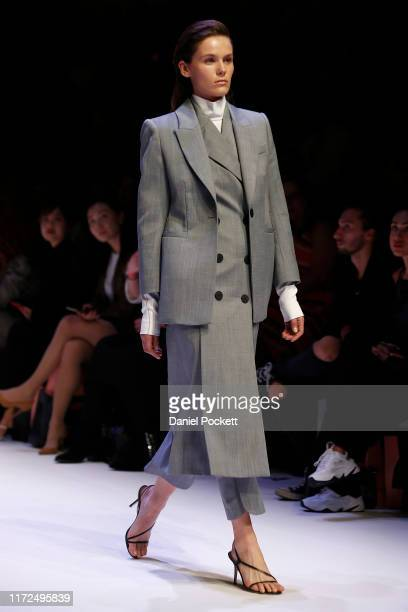 Model showcases CAMILLA AND MARC designs during the Closing Town Hall Runway at Melbourne Fashion Week at Melbourne Town Hall on September 05, 2019...