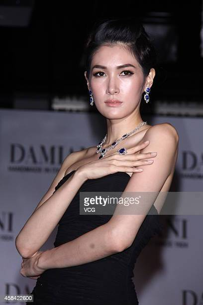 A model showcases Damiani jewellery on the runway at a hotel on November 4 2014 in Taipei Taiwan of China
