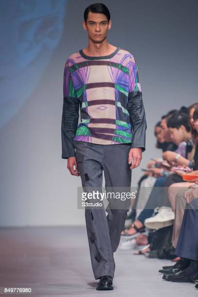 Model showcases design Overshadow | Indistinc by Ahtram during the Visceral Instinct show by Raffles Hong Kong as part of the Fashion Week for Spring...