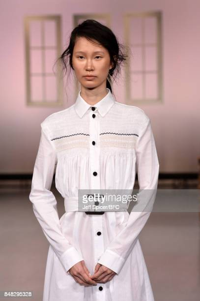 A model showcases designs at the Edeline Lee presentation during London Fashion Week September 2017 on September 17 2017 in London England