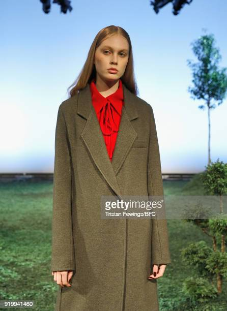 A model showcases designs at the Edeline Lee presentation during London Fashion Week February 2018 at BFC Show Space on February 18 2018 in London...