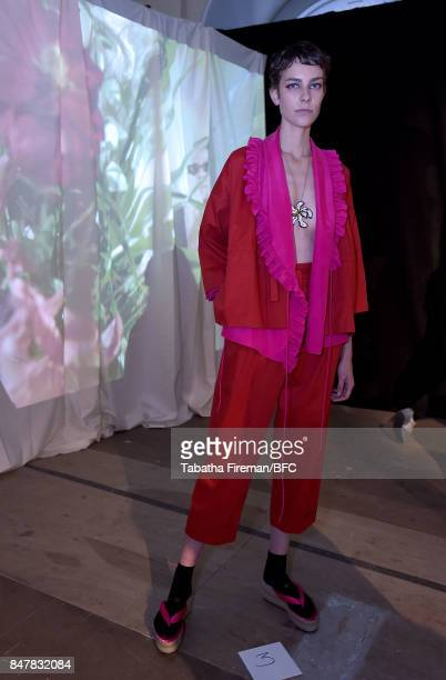 A model showcases designs at the Isa Arfen presentation during London Fashion Week September 2017 on September 16 2017 in London England