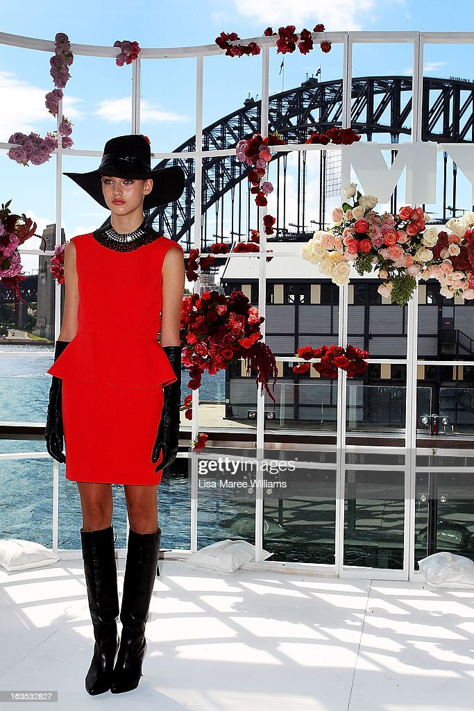 A model showcases designs at the Myer Autumn/Winter Collection preview at The Bar at the End of the Wharf on March 12, 2013 in Sydney, Australia.