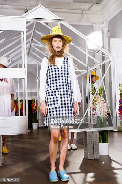 A model showcases designs at the Peter Jensen presentation during London Fashion Week Spring/Summer collections 2017 on September 17 2016 in London...