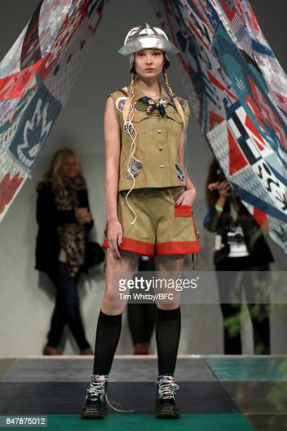 A model showcases designs at the Sadie Williams presentation during London Fashion Week September 2017 on September 16 2017 in London England